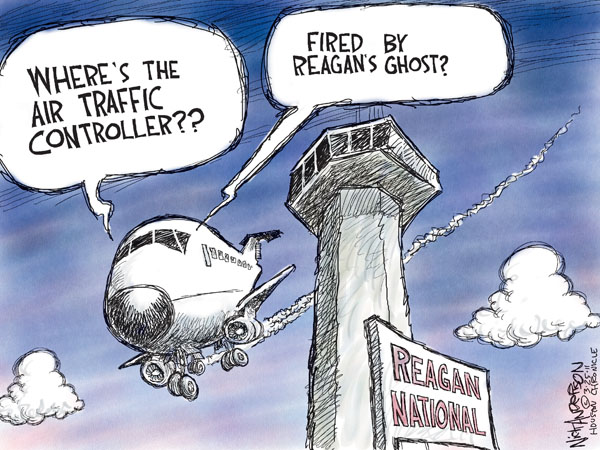 Wheres the air traffic controller?  Fired by Reagans ghost?  Reagan National.