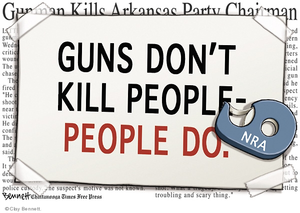 Gunman Kills Arkansas Party Chairman.  Guns dont kill people - people do. NRA. Gunman kills Arkansas party chairman.
