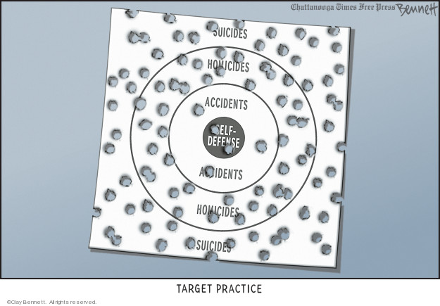 Target Practice.  Suicides.  Homicides.  Accidents.  Self-Defense.