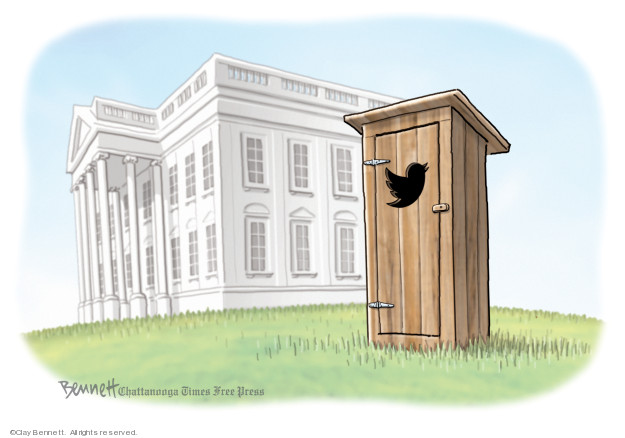 No caption (An outhouse with the Twitter logo as a cutout on the door sits on the White House lawn).