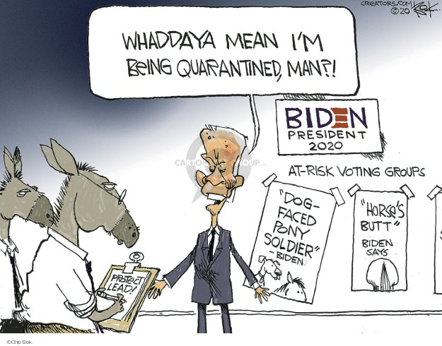Whaddaya mean Im being quarantined, man?! Biden President 2020. At-risk voting groups. Dog-faced pony soldier - Biden. Horses butt. Biden says. Protect lead!