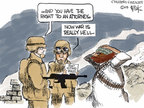 Cartoonist Chip Bok  Chip Bok's Editorial Cartoons 2009-01-23 war is hell