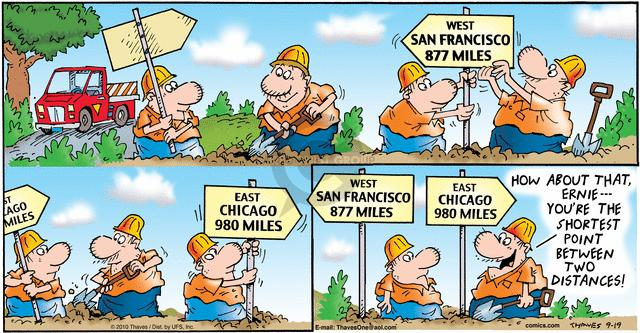 West.  San Francisco 877 miles.  East.  Chicago 980 miles.  How about that, Ernie --- Youre the shortest point between two distances!