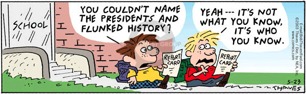 School.  Report Card.   You couldnt name the presidents and flunked history?  Yeah -- Its not what you know, its who you know.
