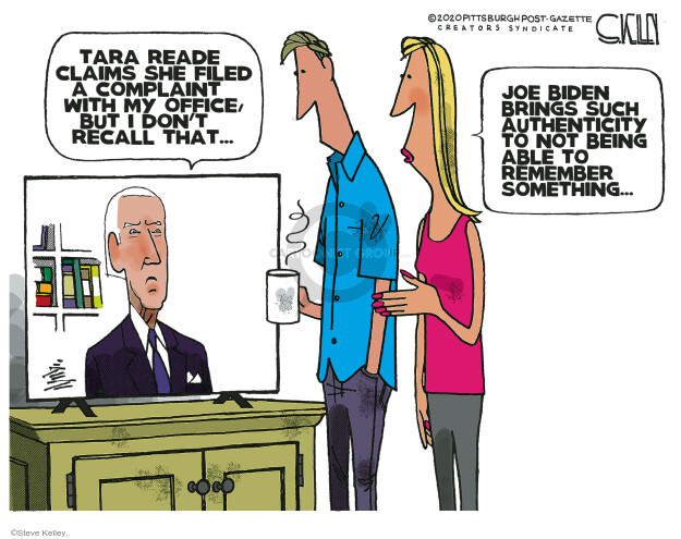 Tara Reade claims she filed a complaint with my office, but I dont recall that … Joe Biden brings such authenticity to not being able to remember something …