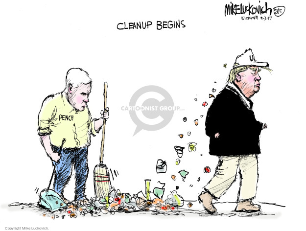 Cleanup Begins. Pence.