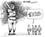 Cartoonist Mike Luckovich  Mike Luckovich's Editorial Cartoons 2009-02-13 baseball