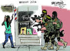 Cartoonist Mike Luckovich  Mike Luckovich's Editorial Cartoons 2014-08-15 barber shop