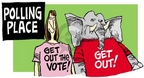 Cartoonist Mike Peters  Mike Peters' Editorial Cartoons 2004-11-05 voter intimidation