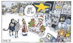 Cartoonist Signe Wilkinson  Signe Wilkinson's Editorial Cartoons 2013-12-22 Christmas shopping