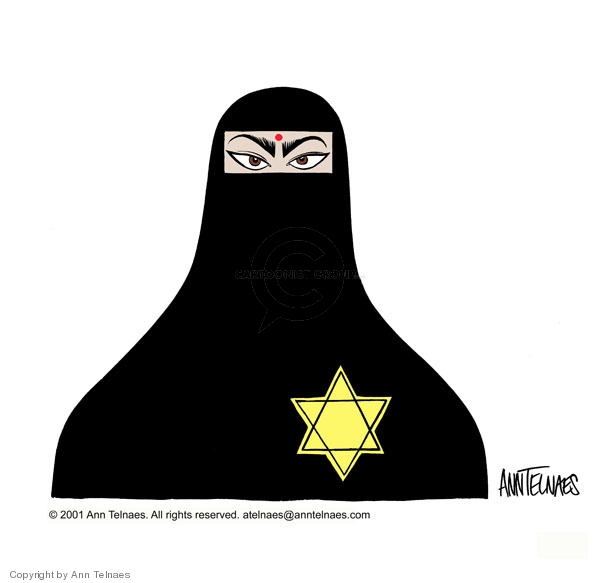 No caption.  (Arab woman wears a burka.  A Star of David is on the front of the burka.)