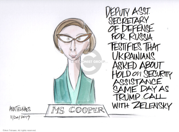 Deputy Asst. Secretary of Defense for Russia testifies that Ukrainians asked about hold on security assistance same say as Trump calls with Zelensky. Ms. Cooper.