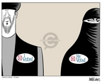 Cartoonist Ann Telnaes  Ann Telnaes' Women's  eNews Cartoons 2005-12-18 voter