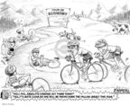 Cartoonist Karl Wimer  Karl Wimer Financial Cartoons 2009-07-24 bicycle race