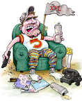 Cartoonist Karl Wimer  Karl Wimer Financial Cartoons 2014-11-18 football